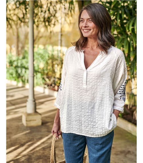 Geo Embroidered Sleeve Top
