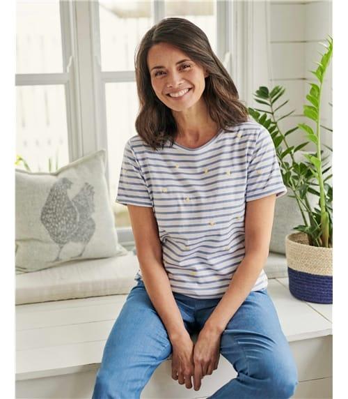 T-shirt motif brodé - Femme - Jersey