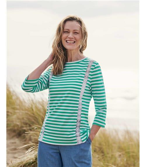 T-shirt manches 3/4 à détail dentelle - Femme - Jersey