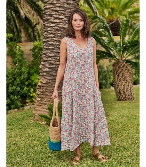 Trägerkleid mit Taschen aus Leinen für Damen