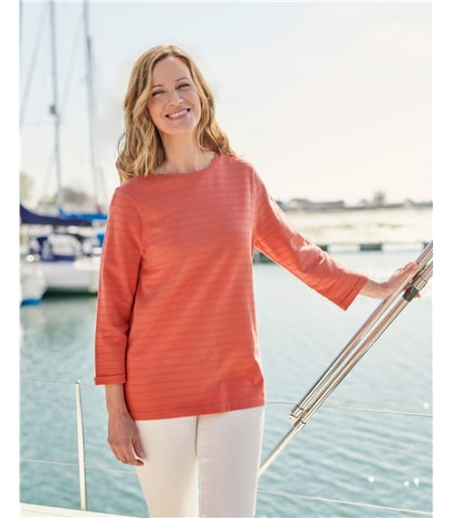 Top à rayures texturées - Femme - Jersey