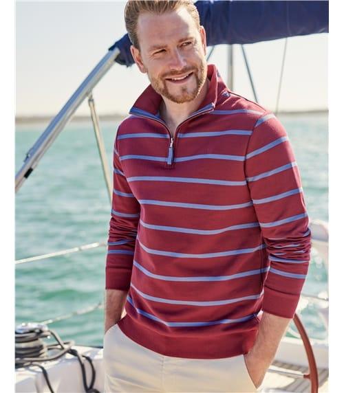 Pullover aus Bio-Baumwolle mit kurzem Reißverschluss für Herren