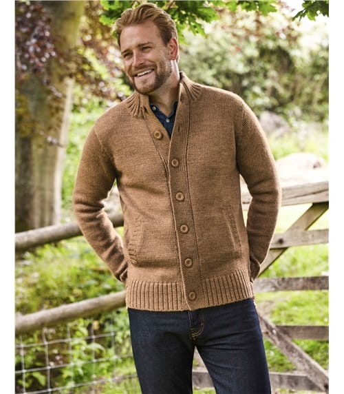 Strickjacke mit Knöpfen aus reiner Wolle für Herren