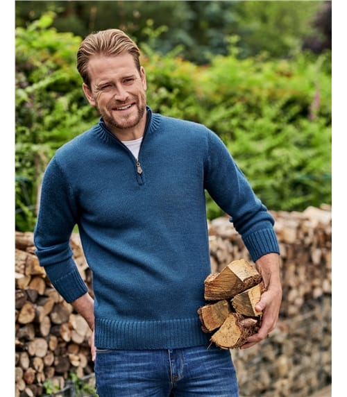 Мужской свитер на молнии из натуральной овечьей шерсти