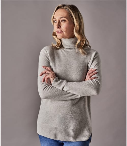 Womens Pure Cashmere Roll Neck Sweater