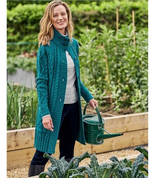 Langstrickjacke mit Aran-Zopfmuster aus reiner Wolle für Damen