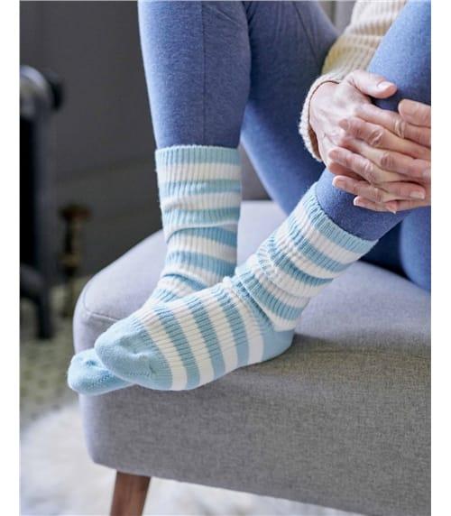 Cashmere and Merino Stripe Bed Socks