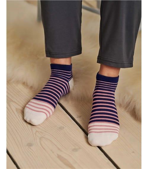 Socquettes à rayures - Femme - Bambou mélangé