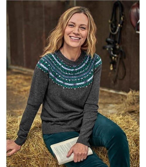 Pullover mit gemusterter Passe aus Merinowolle