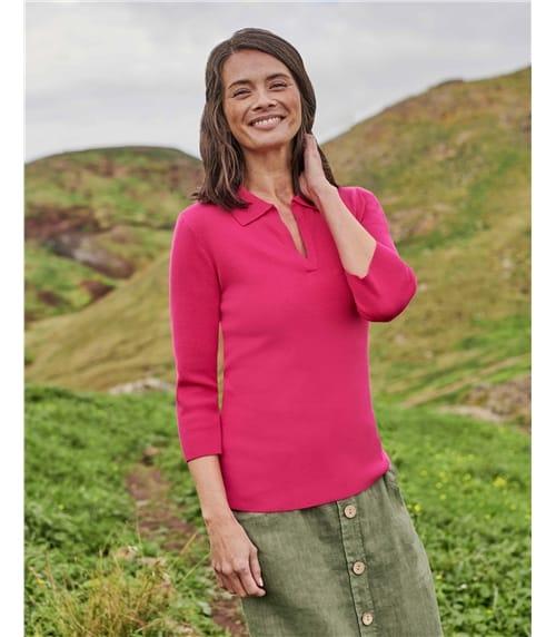 Polo-Shirt aus Kaschmir und Baumwolle für Damen
