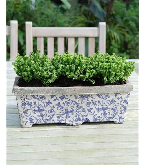 Aged Ceramic Rectangular Planter