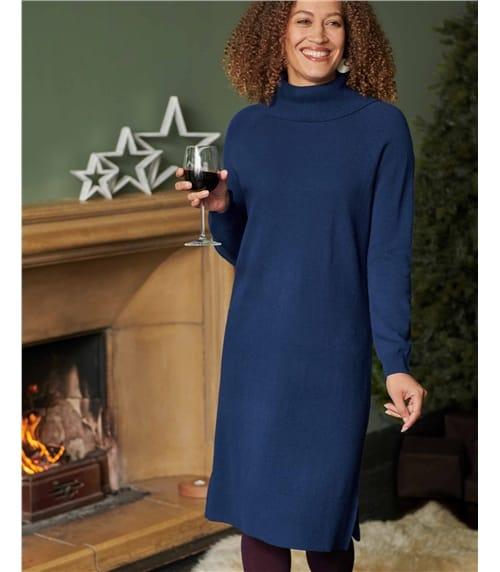 Merino Roll Neck Sweater Dress