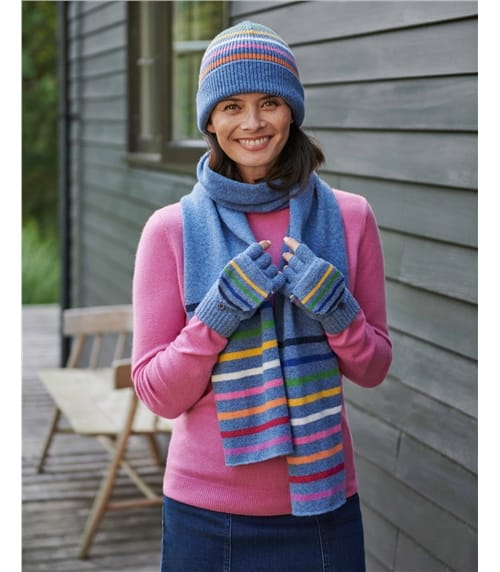 Stripe End Knitted Scarf