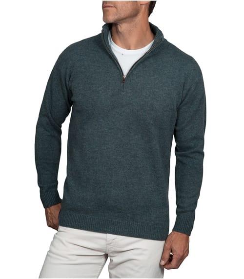 Pullover mit kurzem Reißverschluss aus Lammwolle für Herren