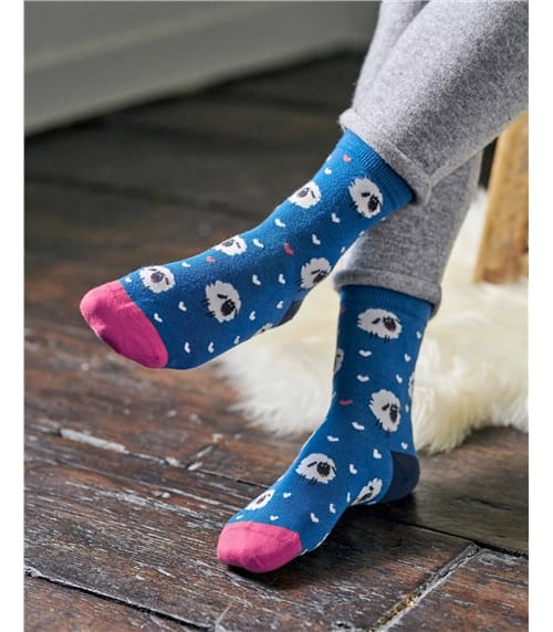 Womens Printed Sheep Bamboo Sock