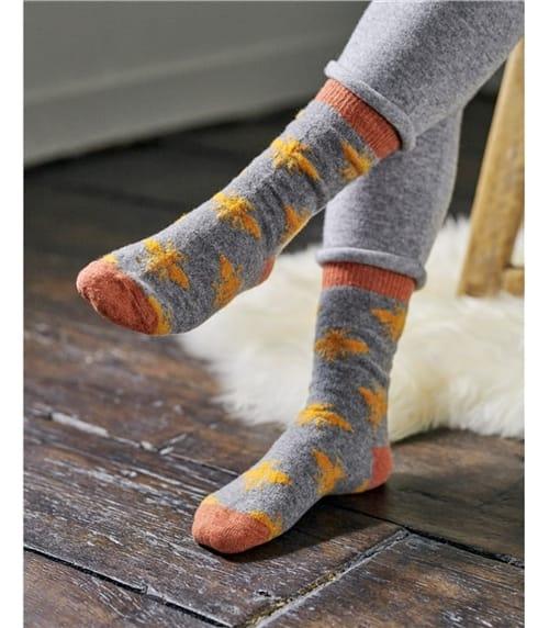 Womens Lambswool Bee Ankle Socks
