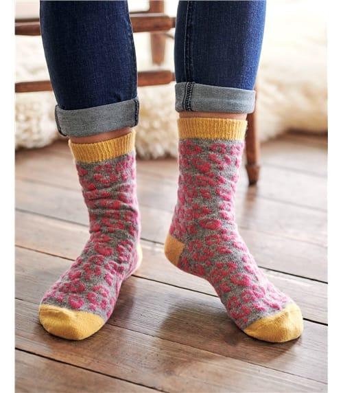 Womens Lambswool Animal Print Ankle Socks