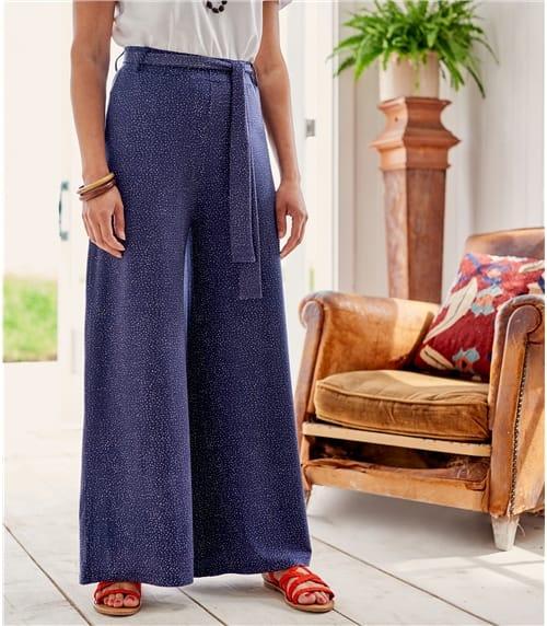 Jersey Hosen mit weitem Bein aus Viskose mit geringem Elastananteil für Damen