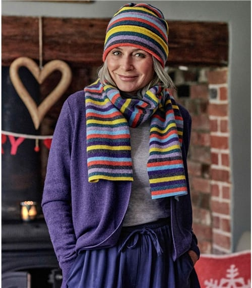 Lambswool Regular Rainbow Stripe Hat