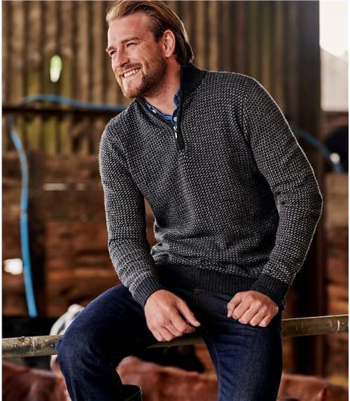 Pullover mit modernem Muster und kurzem Reißverschluss aus Lammwolle für Herren