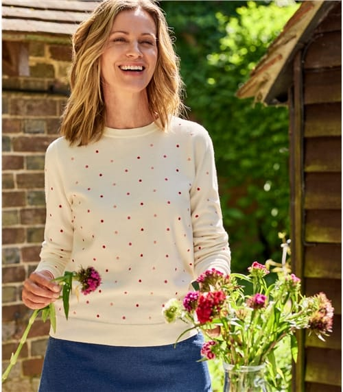 Womens Wool Blend Embroidered Spot Sweater