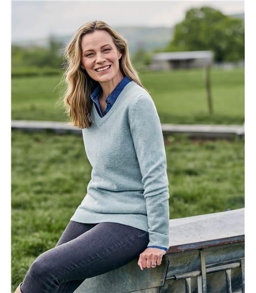 Pull à col V - Femme - Laine d'agneau