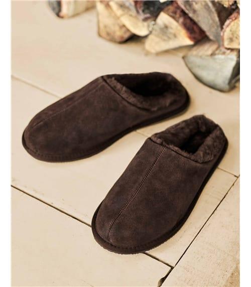 Pantoffeln aus Leder und Schaffell für Herren