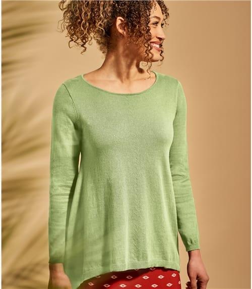 Pull trapèze à encolure dégagée - Femme - Coton mélangé
