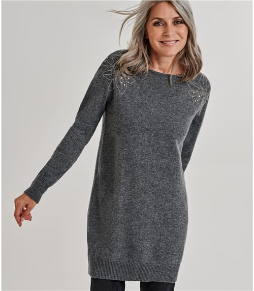 Womens Embellished Shoulder Tunic Dress