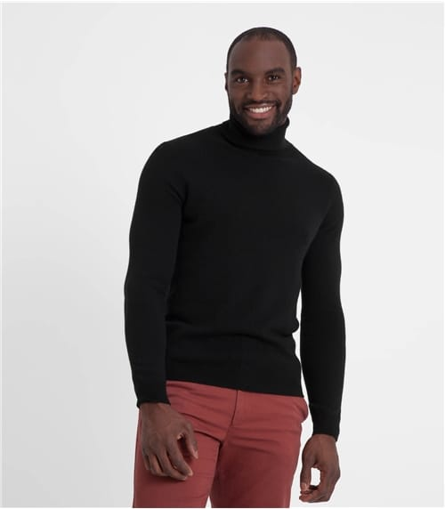 Mens Pure Cashmere Polo Neck Jumper