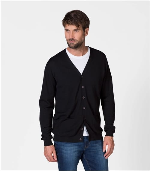 Mens Luxurious Merino V Neck Cardigan