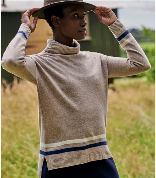 Womens Merino Stripe Hem Roll Neck Jumper