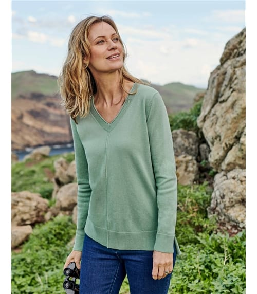 V Neck Jumper with Centre Front Seam Detail