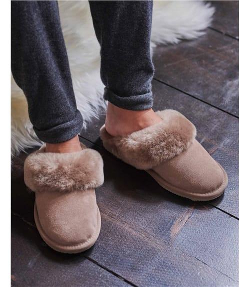 Pantoffeln aus Schafleder mit Schaffell für Damen