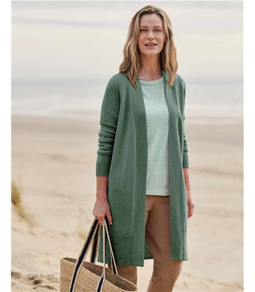 Cashmere and Merino Open Long Cardigan