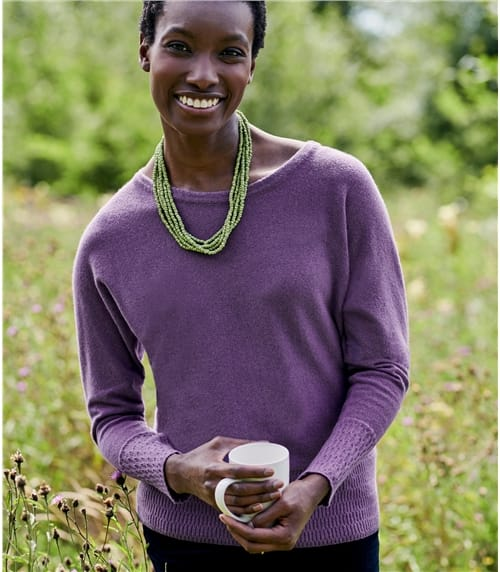 Womens Recycled Cashmere Textured Hem Jumper