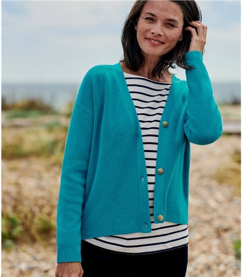 Womens Wool Blend Ribbed Button Cardigan