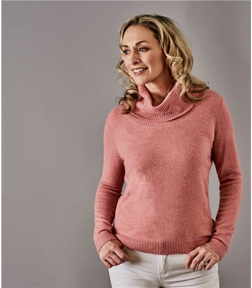 Womens Pure Cashmere Cowl Neck Jumper