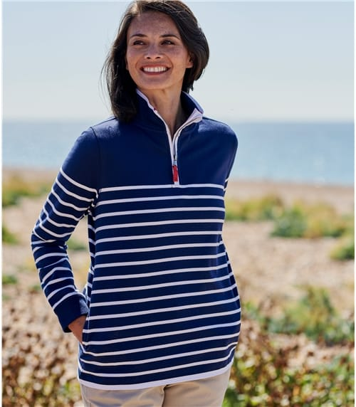 Womens Cotton Half Zip Sweatshirt