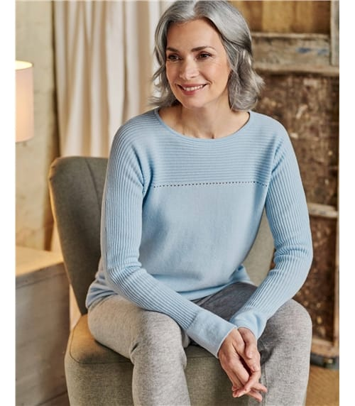 Cashmere Merino Rib Yoke Pointelle Sweater
