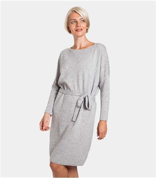 Womens Cashmere and Merino Tie Waist Dress