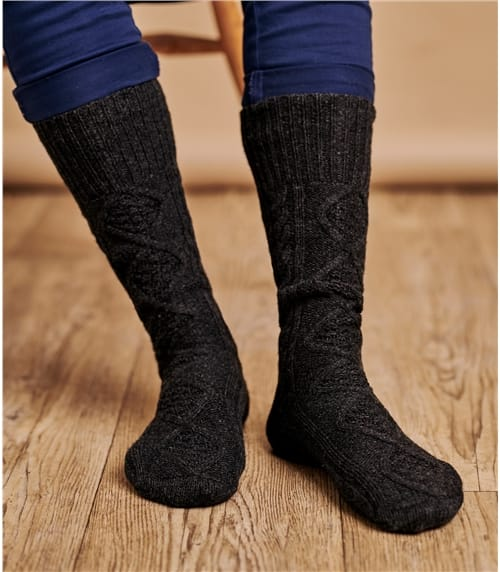 Mens Lambswool Cable Socks