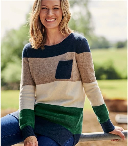 Womens Lambswool Wide Stripe Color Block Sweater
