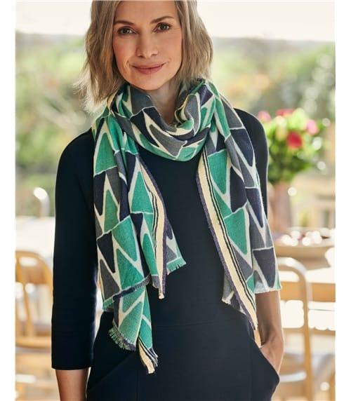 Foulard à motif triangles multicolores - Femme - Pure Laine