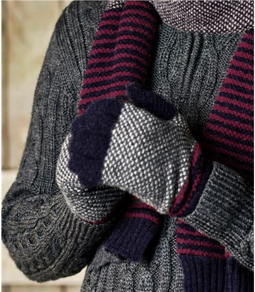 Mens Lambswool Stitch and Stripe Glove