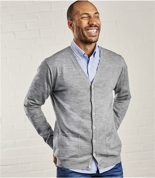 Mens New Merino V Neck Cardigan