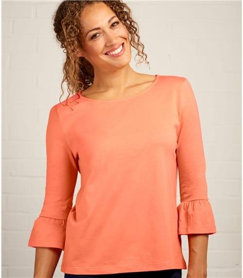 T-Shirt à manches volantées - Femme - Jersey