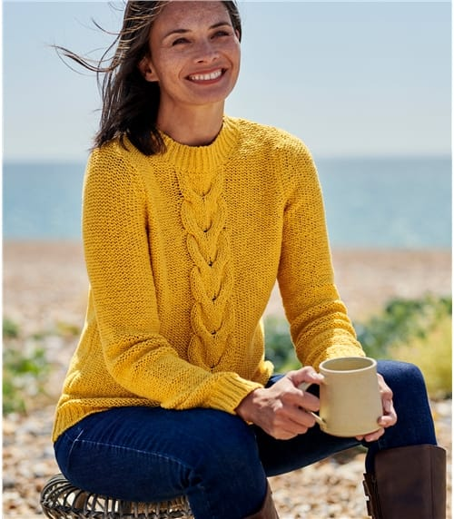 Womens Cotton Cable Detail Jumper