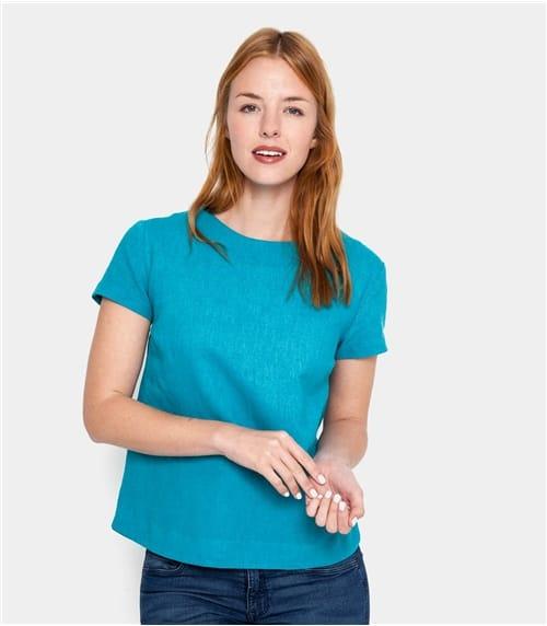 Womens Linen and Cotton Short Sleeve Top