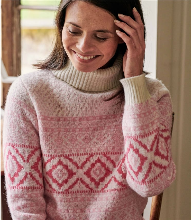 Rollkragenpullover mit Fair Isle-Muster für Damen